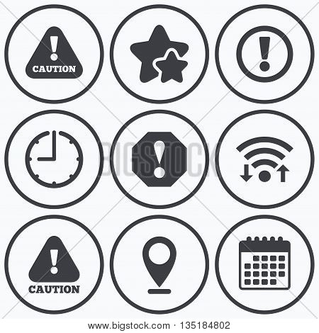 Clock, wifi and stars icons. Attention caution icons. Hazard warning symbols. Exclamation sign. Calendar symbol.