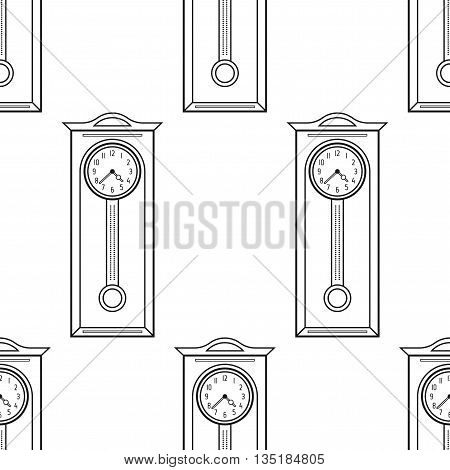 Grandfather clock vintage. Flat linear object, icon. Seamless pattern. Vector illustration