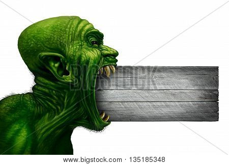 Zombie head blank sign and monster face side view as a demon or mutant beast biting into a wood signage as a creepy halloween or angry scary demonic symbol with wrinkled skin isolated on white in a realistic 3D illustration style.