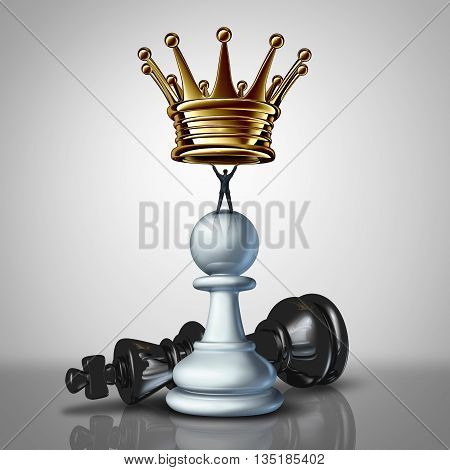 Strong Business leadership sstrategy concept as a take charge businessman standing on a chess pawn lifting a golden crown as an icon of a leader with strategiuc determination for power with 3D illustration elements.