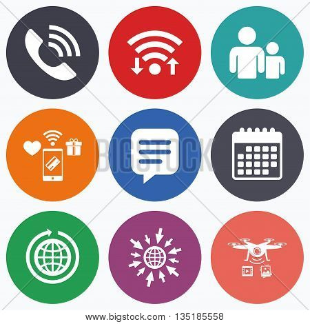Wifi, mobile payments and drones icons. Group of people and share icons. Speech bubble and round the world arrow symbols. Communication signs. Calendar symbol.