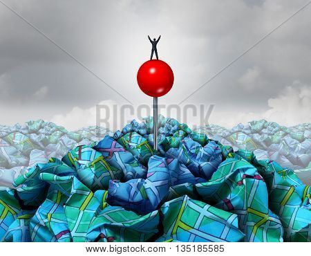 Search success concept as a businessman standing on a red pin on a pile of crumpled road direction as a symbol for business searching leadership with 3D illustration elements.