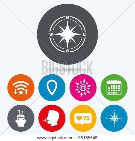 Wifi, like counter and calendar icons. Windrose navigation compass icons. Shipping delivery sign. Location map pointer symbol. Human talk, go to web.