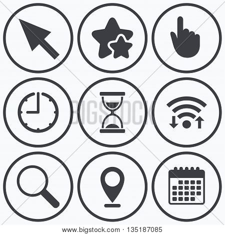 Clock, wifi and stars icons. Mouse cursor and hand pointer icons. Hourglass and magnifier glass navigation sign symbols. Calendar symbol.