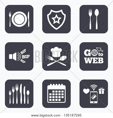Mobile payments, wifi and calendar icons. Plate dish with forks and knifes icons. Chief hat sign. Crosswise cutlery symbol. Dessert fork. Go to web symbol.