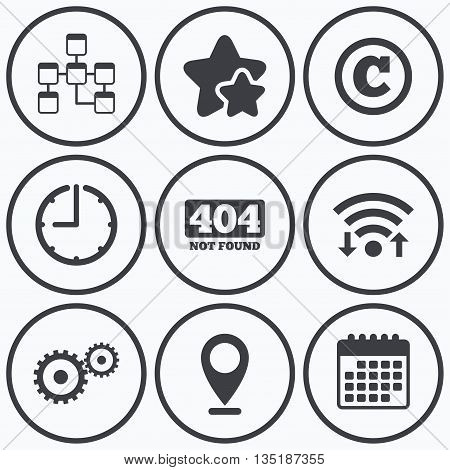Clock, wifi and stars icons. Website database icon. Copyrights and gear signs. 404 page not found symbol. Under construction. Calendar symbol.