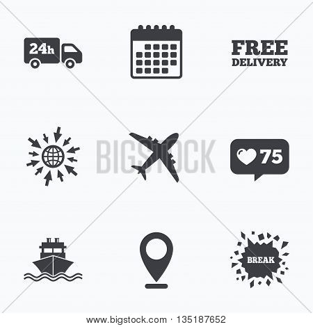 Calendar, like counter and go to web icons. Cargo truck and shipping icons. Shipping and free delivery signs. Transport symbols. 24h service. Location pointer.