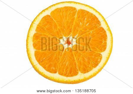 Half orange on white background with clipping path