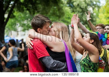 Boise, Idaho/usa - June 20, 2016: Couple Kissing In The Crowd During The Boise Pridefest Concerts