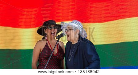Boise, Idaho/usa - June 20, 2016: Two Women Siging During The Boise Pride Festival Concert