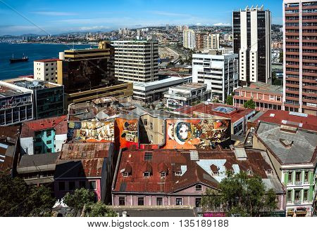 Valparaiso, Chile - October 20, 2015: Houses Of Historical Shell Declared World Heritage By Unesco -