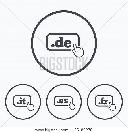 Top-level internet domain icons. De, It, Es and Fr symbols with hand pointer. Unique national DNS names. Icons in circles.