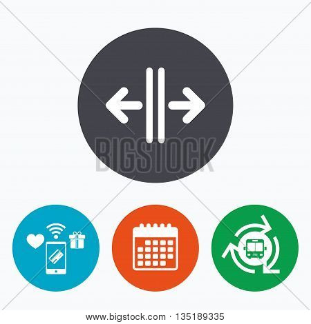 Open the door sign icon. Control in the elevator symbol. Mobile payments, calendar and wifi icons. Bus shuttle.