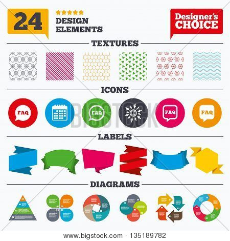 Banner tags, stickers and chart graph. FAQ information icons. Help speech bubbles symbols. Circle and square talk signs. Linear patterns and textures.