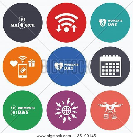 Wifi, mobile payments and drones icons. 8 March Women's Day icons. Tulips or rose flowers bouquet and heart sign symbols. Calendar symbol.