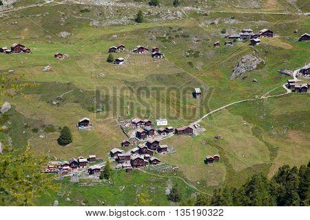 Hiking in the swiss alps nearby Zermatt