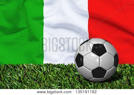 Soccer Ball On Grass With Italy Flag Background, 3D Rendering