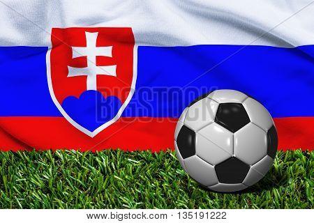Soccer Ball On Grass With Slovakia Flag Background, 3D Rendering