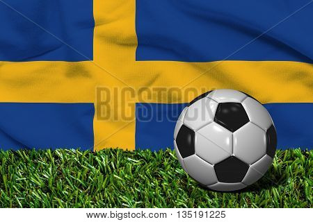 Soccer Ball On Grass With Sweden Flag Background, 3D Rendering