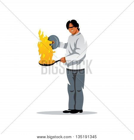 A man with a burning frying pan. Isolated on a white background