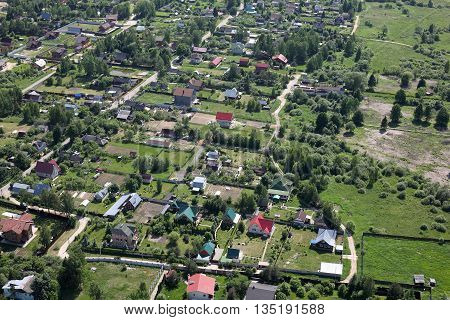 Aerial Views - Russian village. Shooting from the helicopter.