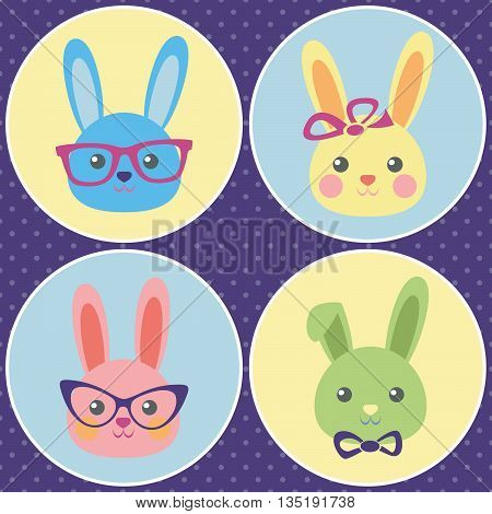 Funny bunny, the set of colorful icons with cute rabbit faces, flat design