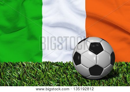 Soccer Ball On Grass With Ireland Flag Background, 3D Rendering