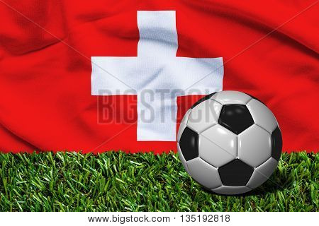 Soccer Ball On Grass With Switzerland Flag Background, 3D Rendering