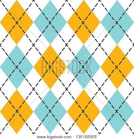 Blue and orange trendy argyle seamless pattern - Modern design in blue, orange and black