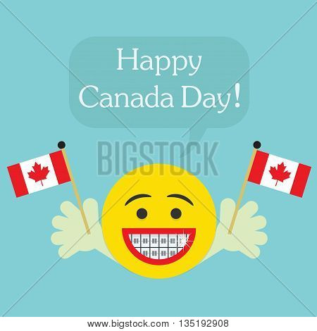 Happy Canada Day! laughing character face icon with orthodontics teeth and hands holding Canada flags