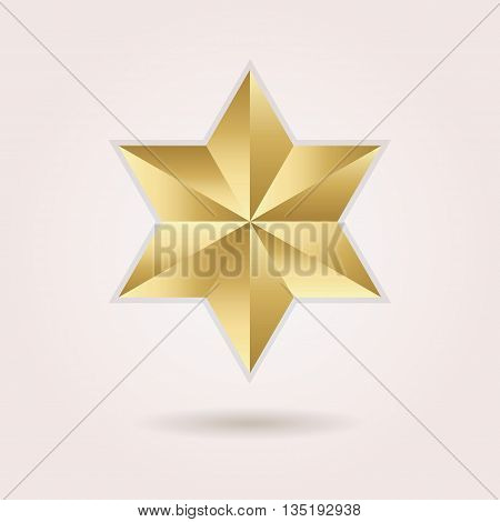 Golden abstract 3d six pointed star icon with dropped shadow on pink gradient background