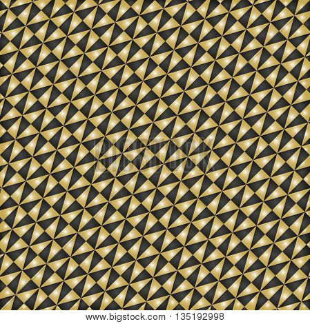 Geometric pattern with diagonal black and golden triangles. Seamless abstract background