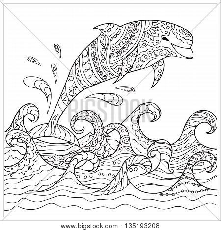 Hand drawn decorated dolphin in the ocean with waves. Image for adult and children coloring book engraving etching embroidery decorate t-shorts tunics. eps 10