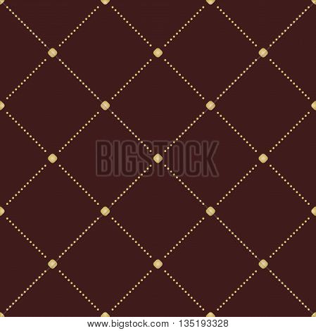 Geometric repeating ornament with diagonal golden dotted lines. Seamless abstract modern pattern