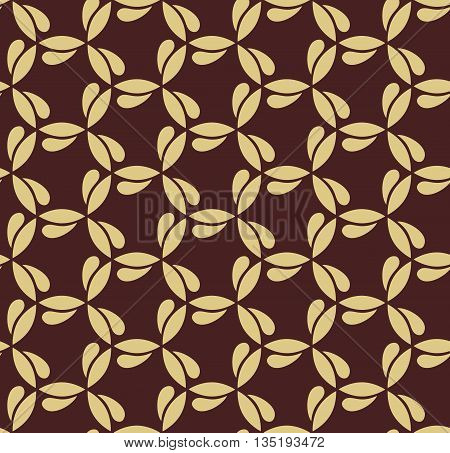 Seamless brown and golden ornament. Modern geometric pattern with repeating elements
