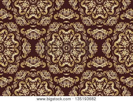 Oriental classic ornament. Seamless abstract background. Brown and golden wallpaper