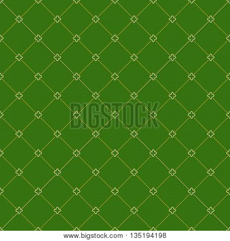 Geometric repeating green ornament with diagonal golden dotted lines. Seamless abstract modern pattern