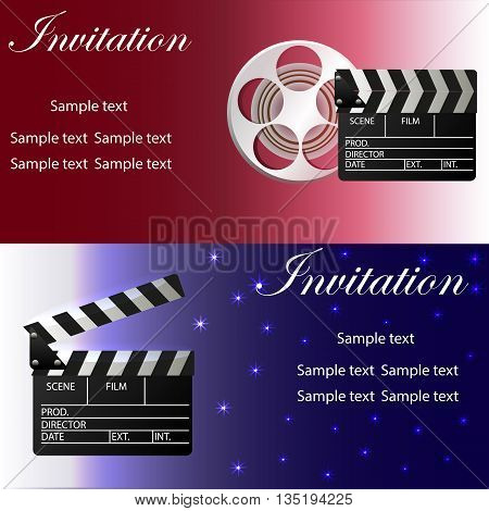 Movie concept template with film strip movie clapper glasses movie reel. Two variants of invitation. Vector illustration.