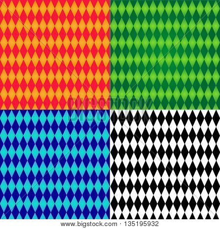 Four patterns with rhombs. Orange rhombus, green rhombus, blue rhombus, black and white rhombus.