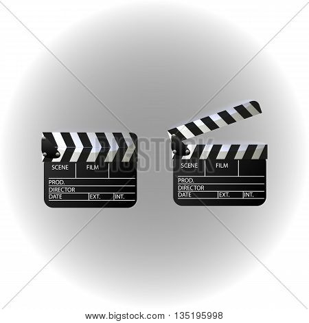 Movie clapper board set. Isolated movie clapper with text.
