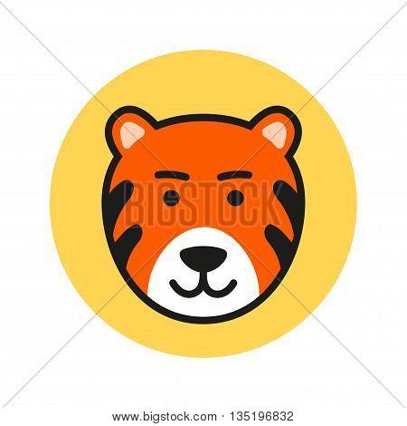 Cute Cartoon Tiger Head. Vector Icon Illustration
