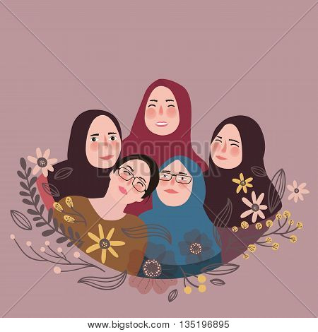 friends wearing scarf veil pose together friendship fun with friends Islam vector