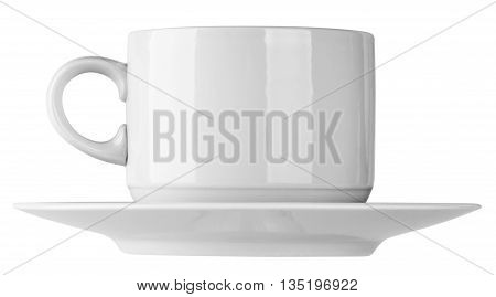 Empty ceramic cup and saucer isolated on the white background