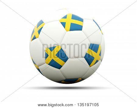 Flag Of Sweden On Football