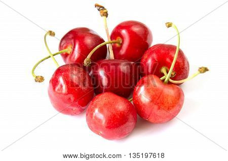 Cherry red fruit on white background isolated