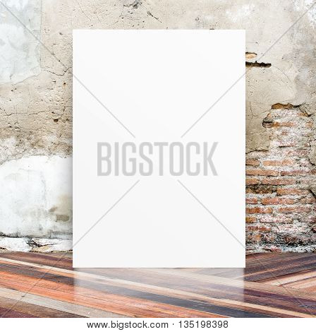 White Blank Poster In Crack Cement Wall And Diagonal Wooden Floor Room,template Mock Up For Your Con