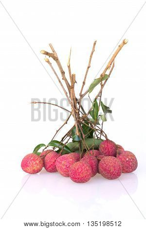 Bunch of litchi isolated on white background.