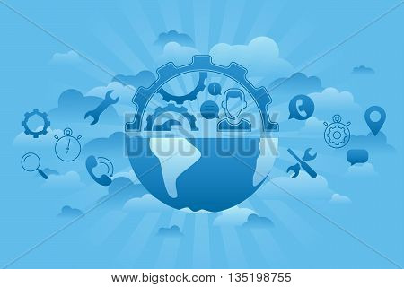 Line flat business vector illustration. Thin line concept of Global Service. Gears, tools, call center operator as earth. Global business conception.