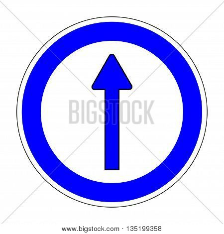 Traffic Sign Keep ahead sign on white background. Arrow icon Straight arrow circular icon on white background Turn direct traffic sign Arrow indicates the direction Stock Vector illustration
