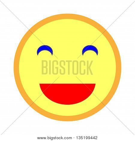 Smiling emoticon with smiling eyes. Vector illustration of yellow laughing smile on white background. Smile icon vector smile icon object smile icon image smile icon picture. Stock vector